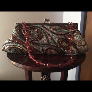Handbags - PurseBejeweled Clutch Purse with beaded handle.